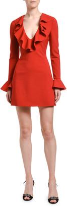 Valentino Ruffled Neck Bell-Sleeve Dress