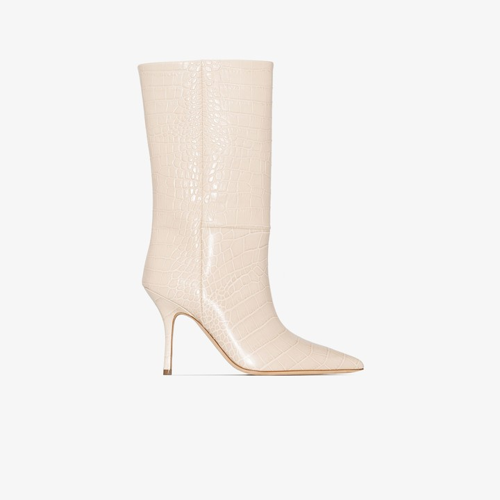 Paris Texas white Mama 95 mock croc leather boots