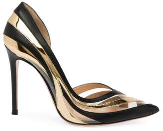 Gianvito Rossi Metallic Stripe PVC & Leather Pumps