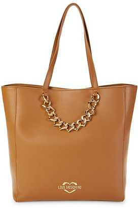 Love Moschino Logo Faux Leather Tote