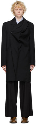 Y/Project Black Wool Twisted Coat