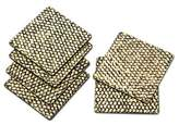 Artisan Crafted Wood and Bamboo Fiber Coasters (Set of 6), 'Bamboo Weave in Black'