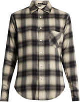 R 13 Checked cotton-blend flannel shirt