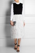 Erdem Caden feather-embellished silk-organza skirt