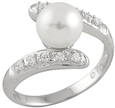 Bella Pearl Cultured Pearl & Sterling Silver Sparkle Ring