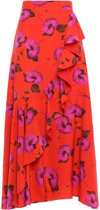 Borgo de Nor Ruffled Floral-print Silk Crepe De Chine Midi Skirt
