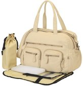 OiOi Oi Oi Faux Lizard Carryall Diaper Bag, Almond by