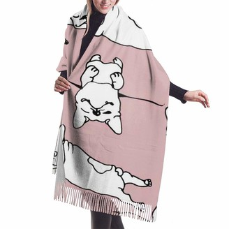 Leyhjai Happy Dogs Group French Bulldog Pug FaceImitation cashmere shawl cover-extra large thick soft scarf