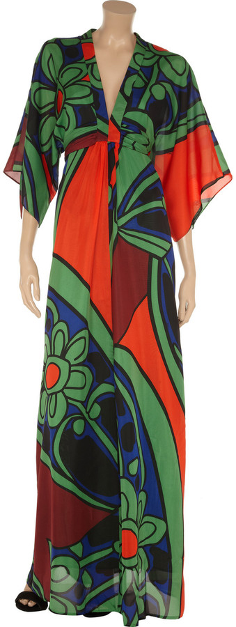 Issa Printed silk-chiffon maxi dress