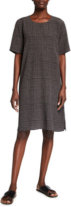 Eileen Fisher Grid Round-Neck Boxy Crepe Shift Dress
