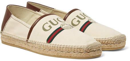 Gucci Alejandro Collapsible-Heel Logo-Print Canvas Espadrilles