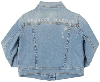 Ermanno Scervino Glittered Stretch Cotton Denim Jacket