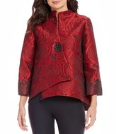 IC Collection One-Button Front Rose Print Jacket