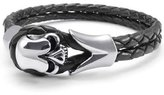 "MENDINO Stainless Steel Gothic Skull Biker Mens Leather Bracelet Color Silver 8"" 8.5"" 9"""