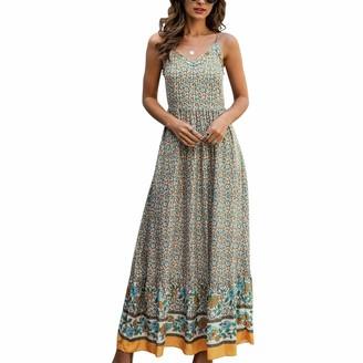 Timagebreze Women's Spaghetti Maxi Dress V Neck High Waist Backless Adjustable Straps Floral Boho Dress XL Size Dark Blue