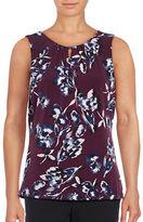 Ivanka Trump Sleeveless Floral Knit Shell