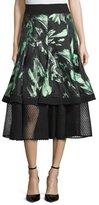 J. Mendel Floral-Print A-Line Midi Skirt, Mint/Noir