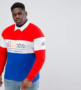Ellesse PLUS Color Block Long Sleeve Rugby Polo Shirt In Red