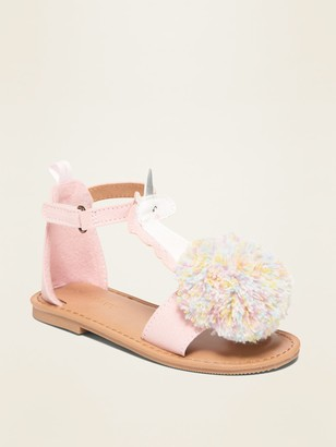 Old Navy Faux-Suede Unicorn Pom-Pom Sandals for Toddler Girls