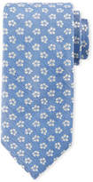 Canali Floral Pattern Silk Tie, White/Blue