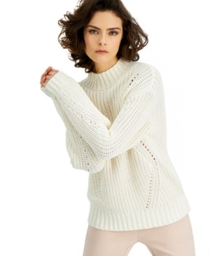 Alfani Petite Chunky Knit Mock Neck Sweater, Created for Macy's