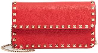 Valentino Garavani Rockstud Leather Wallet on a Chain