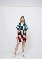 Ports 1961 white + turquoise + black colorblock stripe dress