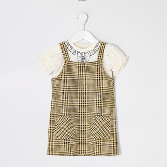 River Island Mini girls Brown check pinafore dress outfit