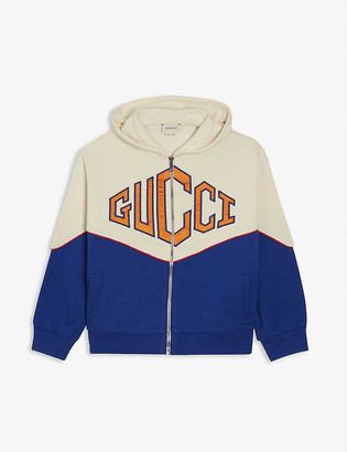 Gucci Colour-block logo cotton hoodie 6-12 years