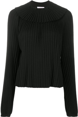 See by Chloe Long-Sleeved Knife-Pleat Blouse
