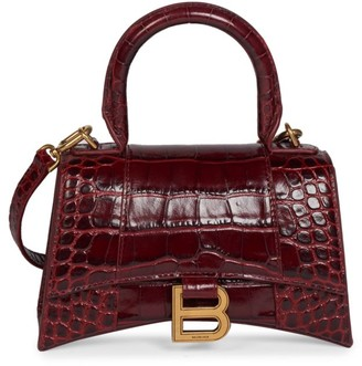 Balenciaga Extra-Small Hourglass Croc-Embossed Leather Top Handle Bag