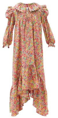 Horror Vacui Defensia Floral-print Cotton-poplin Maxi Dress - Red Multi