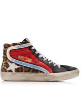 Golden Goose Multi-Color Leopard-Print Leather Sneakers