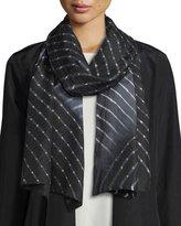 Eileen Fisher Lehariya Silk Check Scarf, Black
