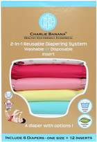 Charlie Banana 6 Diapers 12 Inserts Hybrid AIO Grab Pack, Butterfly