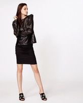 Nicole Miller Puff Sleeve Sequin Blouse