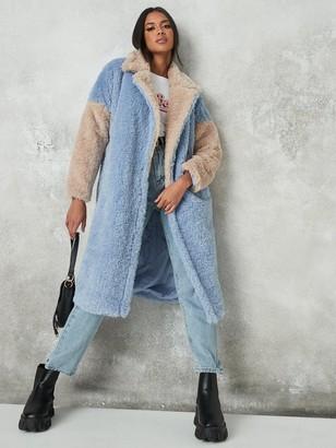 Missguided Colourblock Longline Fur
