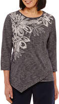 Alfred Dunner Montego Bay 3/4 Sleeve Split Crew Neck T-Shirt-Womens