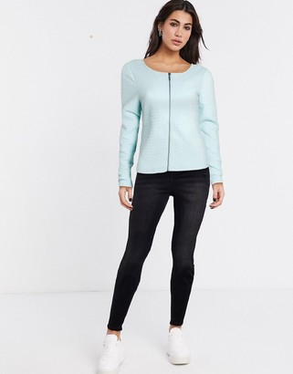 Vila zip front blazer in blue
