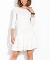 Ecru Ruffle Boatneck Dress