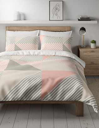 Marks and Spencer Cotton Mix Geometric Bedding Set with Fitted Sheet