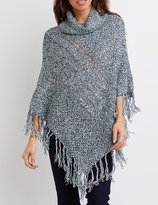 Charlotte Russe Cowl Neck Fringed Poncho
