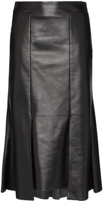 Alexander McQueen asymmetric flared midi leather skirt