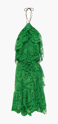 Dundas Ruffled Floral-appliqued Corded Lace Halterneck Mini Dress