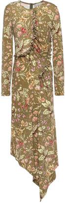 Preen by Thornton Bregazzi Nita Ruffle-trimmed Floral-print Crepe-jersey Midi Dress
