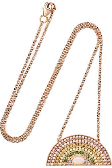 Andrea Fohrman Large Rainbow 18-karat Rose Gold Multi-stone Necklace