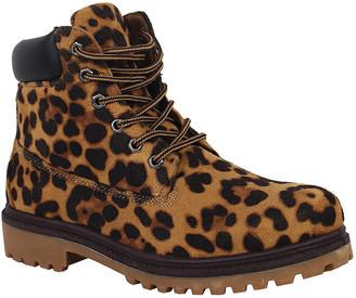Yoki Women's Casual boots leopard - Leopard Smooth-Trim Tim Boot - Women