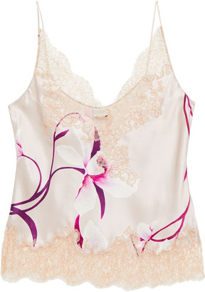 Carine Gilson Lace-trimmed Floral-print Silk-twill Camisole
