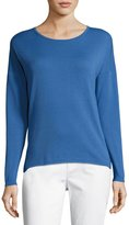 Lafayette 148 New York Ribbed-Back Dropped-Sleeve Sweater, Forest
