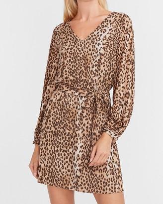 Express Leopard Belted Fit And Flare Dress
